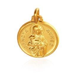 Święta Agnieszka. Patronka dzieci. Złoty medalik. 18 mm 3,8 g Gold Urbanowicz
