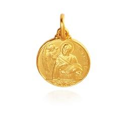 Świety Mateusz. Patron celników, urzędników. Złoty medalik. średnica 14 mm. 2,2 g Gold Urbanowicz