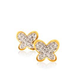 Motylki z kamieniami Swarovskiego.. Kolczyki złote. 0.7 g Gold Urbanowicz