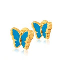 Turkusowe Motylki. Kolczyki złote. Gold Urbanowicz