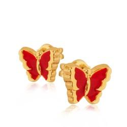 Motylki Czerwone. Kolczyki ze złota. Gold Urbanowicz