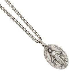 Srebrny komplet. Łańcuszek 70 cm + Cudowny Medalik. Gold Urbanowicz