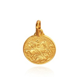 Święty Jerzy. Patron artystów, żołnierzy, wędrowców. Złoty medalik. średnica 21 mm 5,8 g Gold Urbanowicz