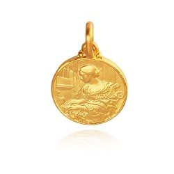 Święta Cecylia. Patronka muzyki. Złoty medalik. średnica 18 mm. 3,8 g Gold Urbanowicz