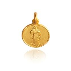 Jezus Miłosierny. 3,5 g 18mm Złoty medalik okrągły Gold Urbanowicz
