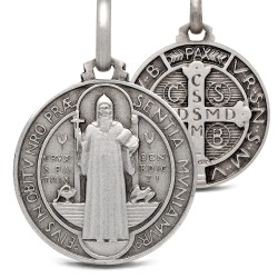 Święty Benedykt. Srebrny medalik oksydowany. Medalik św Benedykta. 5.2 g 21 mm