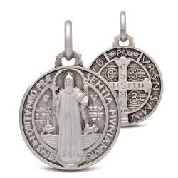 Święty Benedykt. Srebrny medalik oksydowany. Medalik św Benedykta. 3.9 g 18 mm