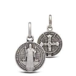 Święty Benedykt. Srebrny medalik oksydowany. Medalik św Benedykta. 1.5g 12mm Gold Urbanowicz