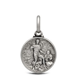 Srebrny medalik ze świętym Rochem. 14mm, 2.0g