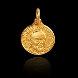Święty Ojciec Pio średnica 10 mm, 1,2 g Medalik złoty. Gold Urbanowicz