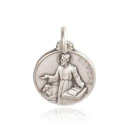 Święty Łukasz Ewangelista. Patron lekarzy, złotników, grafików. Medalik ze srebra, średnica 12 mm, 1,4g Gold Urbanowicz