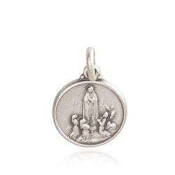 Medalik ze srebra oksydowanego z Matką Bożą z Fatimy. Medalik Matki Boskiej Fatimskiej. 21mm, Gold Urbanowicz