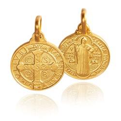 Święty Benedykt. Złoty medalik 3,45 g 16 mm, Gold Urbanowicz