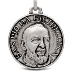 Święty Ojciec Pio. 25mm Medalion srebrny. Gold Urbanowicz