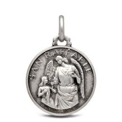 Medalik ze srebra oksydowanego ze św Rafałem Archaniołem. 3,15 g 18 mm Gold Urbanowicz silver medal shop online