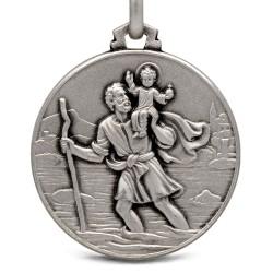 Święty Krzysztof. Duży, Okrągły Medalion srebrny- męski 25 mm, Gold Urbanowicz