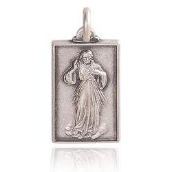 Miłosierdzie Boże. Medalik srebrny oksydowany. Medalik Miłosierdzia Bożego. 3.4 g Gold Urbanowicz