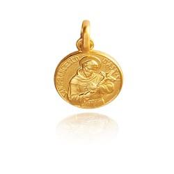Święty Franciszek z Asyżu, 12mm, Złoty medalik. Gold Urbanowicz