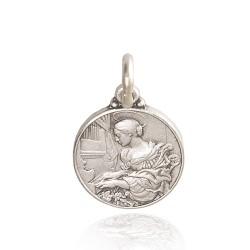 Święta Cecylia. patronka muzyki kościelnej. Medalik srebrny. 14 mm. 2.0 g Gold Urbanowicz