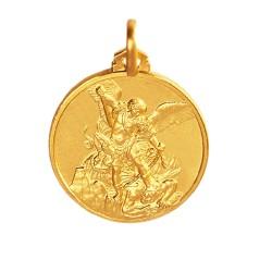 Święty Michał Archanioł. Złoty medalik 18 mm, 3,8g Gold Urbanowicz