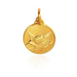 Złoty medalik z Aniołkiem Muzykalnym. średnica 12 mm, 2,2 g Gold Urbanowicz