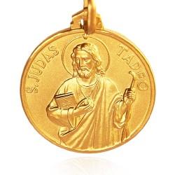Święty Tadeusz Juda. Patron spraw trudnych i beznadziejnych. średnica 25 mm,  Złoty medalik,   9 g  Gold Urbanowicz