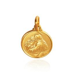 Święty Antoni Padewski. Złoty medalik. średnica 14 mm, 2,3 g Gold Urbanowicz