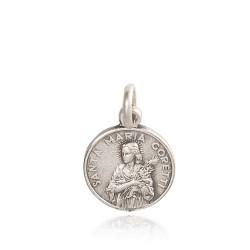 Święta Maria Goretti. Patronka dziewcząt, dziewic, bielanek. Medalik srebrny. średnica 12 mm, 1.2 g Gold Urbanowicz