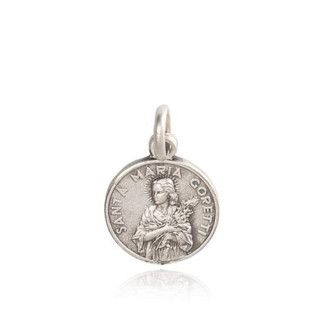 Święta Maria Goretti. Patronka dziewcząt. Medalik srebrny. średnica 12 mm, 1.2 g