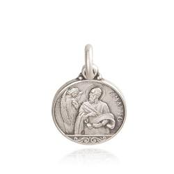 Medalik świetego Mateusza, Patrona urzędników, celników. śrebrny medalik. średnica 14 mm, 1,9 g GoldUrbanowicz