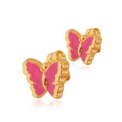 Motylki Różowe. Kolczyki ze złota. Gold Urbanowicz