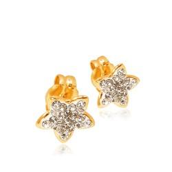 Gwiazdki z Kamieniami Swarovskiego. Kolczyki złote. 0.5 g