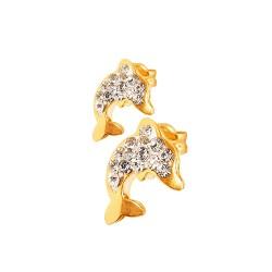 Delfinki z kamieniami Swarovskiego. Kolczyki złote. 0.5 g