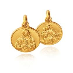 Szkaplerz Karmelitański. Matka Boska Szkaplerzna. Medalik złoty.  14 mm  2.95 g Gold Urbanowicz