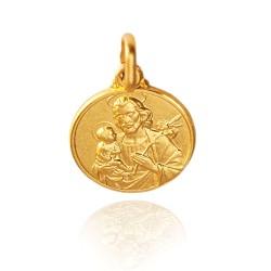 Złoty medalik świętego Józefa z Nazaretu. 18 mm, Gold Urbanowicz