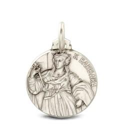 Święta Barbara. srebrny medalik oksydowany. Medalik św Barbary. 18mm Gold Urbanowicz