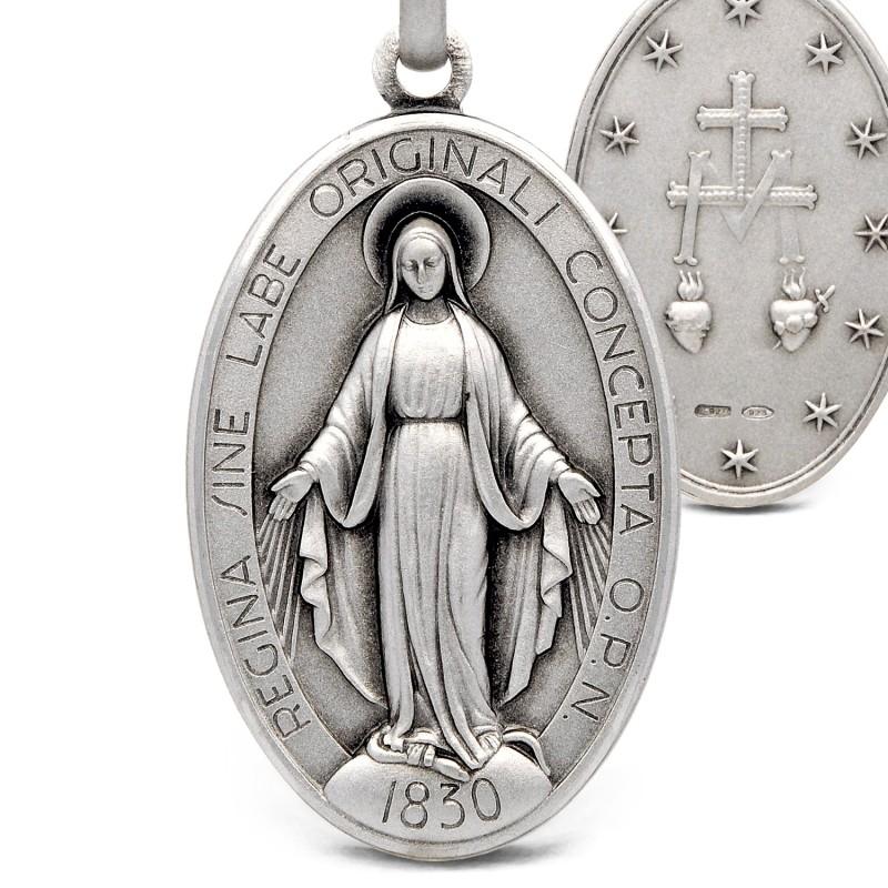 Cudowny Medalik srebrny. Duży, cięzki. srebro oksydowane. 5.9 g Gold Urbanowicz