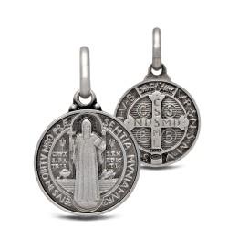 Święty Benedykt. Srebrny medalik oksydowany. Medalik św Benedykta. 2.2 g Gold Urbanowicz