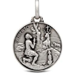 Okrągły Medalik Srebrny ze św Hubertem. 21mm