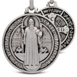 Święty Benedykt. Srebrny medalik oksydowany. Medalik św Benedykta. 8,6 g 25 mm