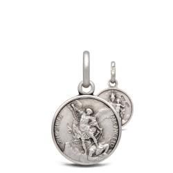 Szkaplerz Michała Archanioła i MB z Góry Karmel, srebrny medalik dwustronny 14 mm,