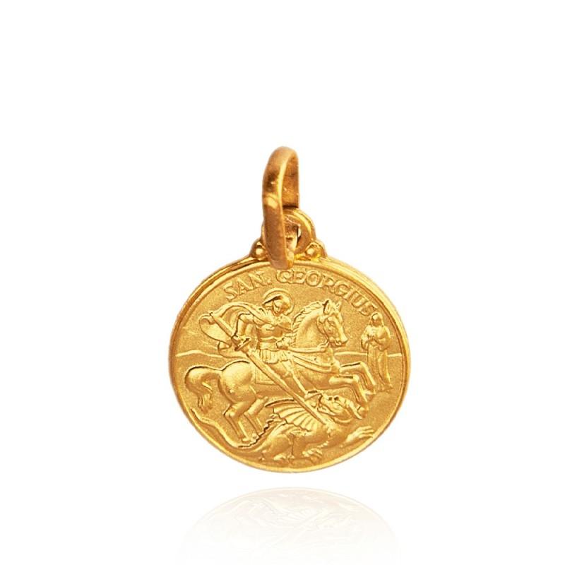 Święty Jerzy. Patron artystów, żołnierzy, wędrowców. Złoty medalik. średnica 12 mm 1,5 g Gold Urbanowicz