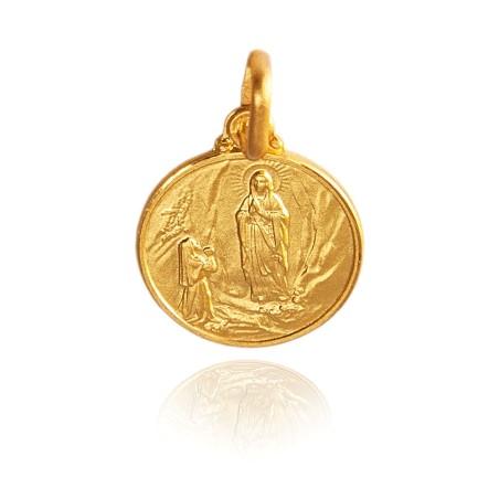 Matka Boska z Lourdes. Malutki Złoty medalik. 10 mm 1,1g