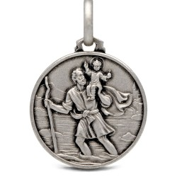 Święty Krzysztof. Patron Kierowców. Okrągły Medalik srebrny- męski 21 mm, Gold Urbanowicz