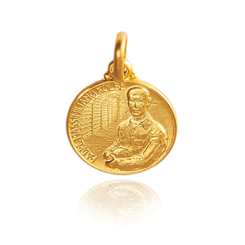 Święty Maksymilian Kolbe. 1.6 g Złoty Medalik. średnica 12 mm Gold Urbanowicz