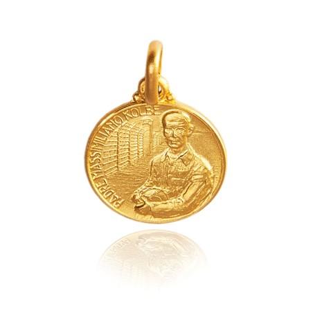 Złoty medalik Świętego Maksymiliana Marii Kolbego. 12 mm, 1.6 g