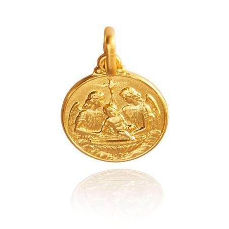 Złoty Medalik na Chrzest Święty, 18 mm 3,7 g