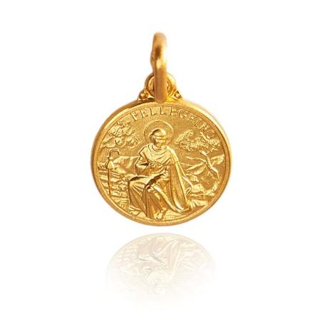Święty Peregryn. Malutki Złoty medalik, 10 mm, 1,1g