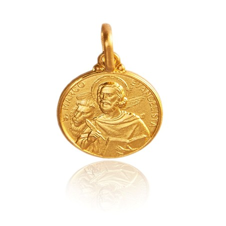 Święty Marek Ewangelista. Malutki Złoty medalik, 10 mm. 1,1 g