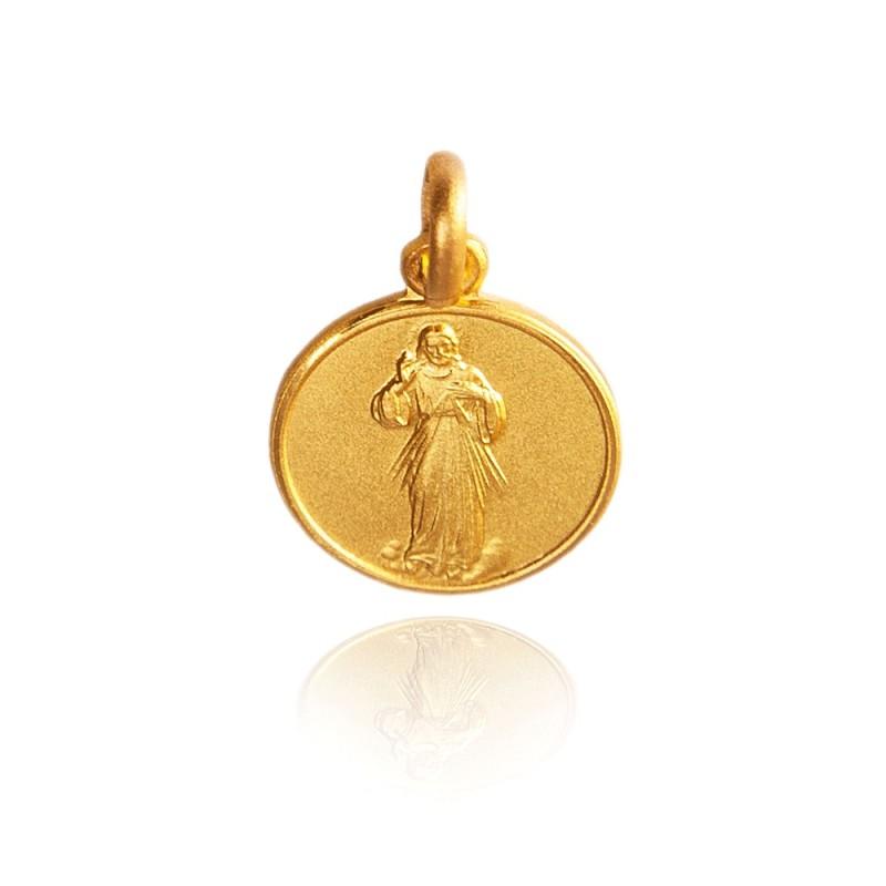 Jezus Miłosierny. 1,1 g Malutki Złoty medalik okrągły Gold Urbanowicz